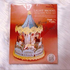 New POSTAlk DIY 3D Paper Craft Light Up Carousel